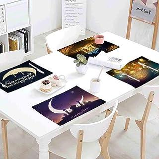 (Lot de 4) Linge de table Set de table festival du Ramadan musulman Set de table Golden Moon Star Set de table Castle Moon...