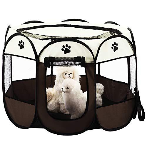 KEESIN Faltbares Haustier Zelt 8-Panel Mesh Haus WelpenLaufstall Hundehütte für Hunde Katze Kaninchen (91 * 91 * 58cm, Braun)