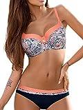 UMIPUBO Mujer Bikini Push-Up Acolchado Bra Trajes de Baño Tops y Braguitas Bikini Sets (ES 44, Estilo3:Naranja)