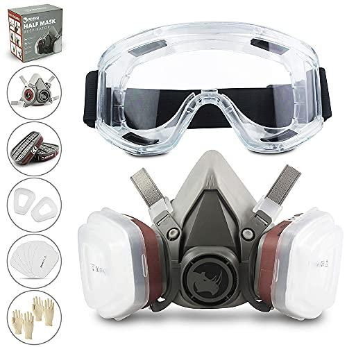 Gesichtsschutz (Halbseitig) RHINO Smart Solutions Anti-Staub Wiederverwendbar mit Brille, Handschuhe, 6 Partikelschutzfilter für Industriemalerei, Gas, Schutz, Basteln, Lackierung, Dampf.