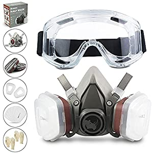 RHINO Smart Solutions - Cubierta Facial (Semi-Cara) Antipolvo Reutilizable con Gafas, Guantes, 6 Filtros de Protección de Partículas para Pintura Industria Gas Carpintería Bricolaje Barnizado Vapor