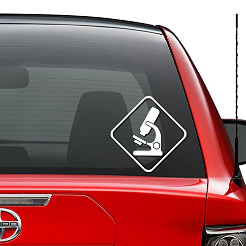 Microscope Science Lab Vinyl Decal Sticker Car Truck Vehicle Bumper Window Wall Decor Helmet Motorcycle and More - (Size 5 inch / 13 cm Tall) / (Color Gloss White)