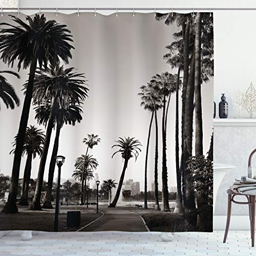 ABAKUHAUS Palme Duschvorhang, Los Angles Park View, Seife Bakterie Schimmel & Wasser Resistent inkl. 12 Haken & Farbfest, 175 x 180 cm, Dunkelbraun Weiß