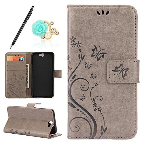 Uposao Kompatibel mit HTC One A9 Handyhülle Lederhülle Leder Handy Schutzhülle Leder Tache Schmetterling Blumen Bookstyle Flip Tasche Case Wallet Cover Handytasche,Grau