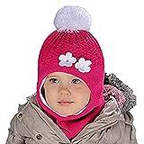 AJS Mädchen Schlupfmütze Wintermütze Ballonmütze Beanie in 6 Farben für Mädchen 3-6 Jahre alt, 50-54 cm Kopfumfang, sehr dehnbar (Weiß/Pink H)