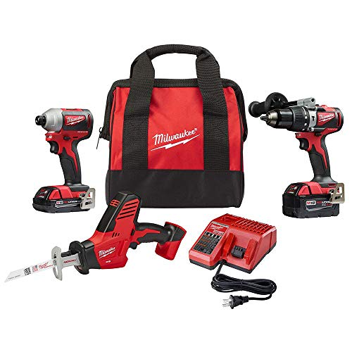 Milwaukee 2893-22CXP M18 18-Volt Lithium-Ion Brushless Cordless Hammer Drill/Impact/Hackzaw Combo Kit (3-Tool) with 2 Batteries, Charger and Bag