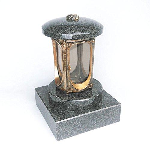 designgrab Grablampe mit Granit Sockel 20x20x5 cm, aus messingfarbenem Aluminium in Antikoptik und Granit Nero Impala/Astor anthrazit