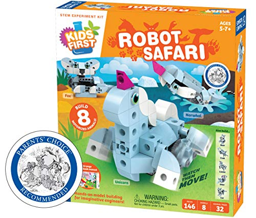 Thames & Kosmos Kids First: Robot Safari - Introduction to Motorized Machines Science Experiment Kit for Ages 5 to 7, Build 8 Robotic Animals Including A Unicorn, Llama, Narwhal & More