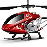 Remote Control Helicopter, S107H-E Aircraft with Altitude Hold, One Key take Off/Landing, 3.5 Channel, Gyro Stabilizer and High &Low Speed, LED Light for Indoor to Fly for Kids and Beginners(Red)