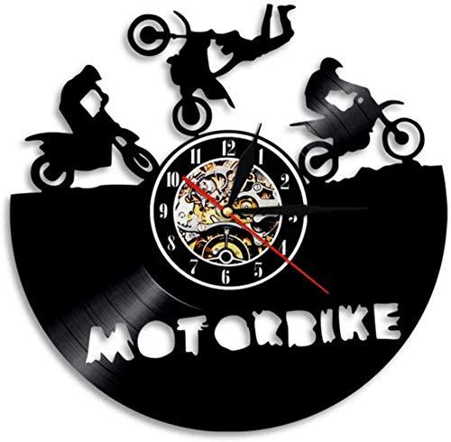 CQAZX Motorrad Wanduhr Super Bike Sport Race Speed Motorradfahrer Geschenk Vinyl Record Wanduhr