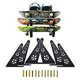 S STRAILBOARD Skateboard Wall Rack Skateboard Longboard Hangers 3 Board Wall Storage Mount Space Saving, Load Bearing Skateboard Storage Suitable for Longboards Scooters Electric Skateboards Helmets
