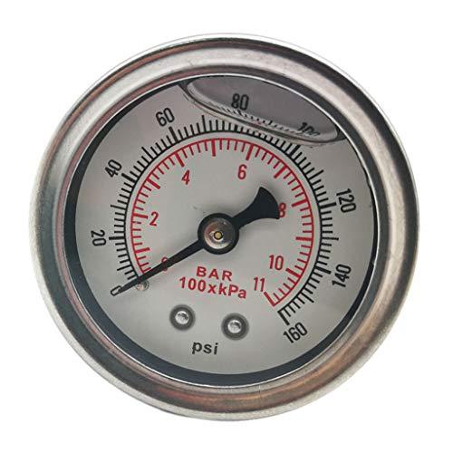 B Blesiya Manómetro de Combustible Carcasa Pulida Llena de Líquido Y Cara Blanca 1/8 Npt (160 PSI)