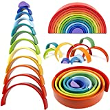 Lewo 12 PCS Wooden Rainbow Stacker Extra Large Stacking Game Nesting Puzzle Building Blocks Educational Toys for Kids Baby Toddlers
