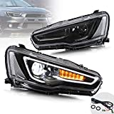 VLAND Sequential LED Projector Headlights Assembly for [Mitsubishi Lancer EVO X Sedan 2008-2020] Dual Beam Lamps, YAA-YS-0162CH (Black)