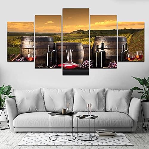 GUANGWEI Impresión En Lienzo Póster HD 5 Combinación De Pintura Colgante Vino De Barricas De Roble De La Pradera Marco De Dibujo Decorativo del Paisaje del Regalo del Arte De La Pared del Hogar