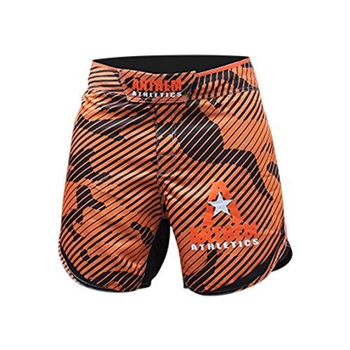 Anthem Athletics Defiance Kickboxing Short MMA Shorts - Muay Thai, BJJ, WOD, Cross-Training, OCR - Orange Line Camo - 30'