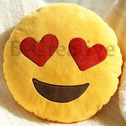 B-Creative - Cojín redondo con diseño de emoticono de emoticonos de peluche de 30,48 cm (ojo de corazón)