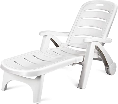 new arrival Giantex high quality Folding Lounger online Chaise Chair on Wheels Outdoor Patio Deck Chair Adjustable Rolling Lounger 5 Position Recliner w/Armrests (1, White) online sale
