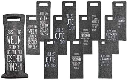 Bada Bing - Bolsa de regalo para botellas de vino, fieltro, con texto en alemán, color 12er Set Geschenktasche NEU