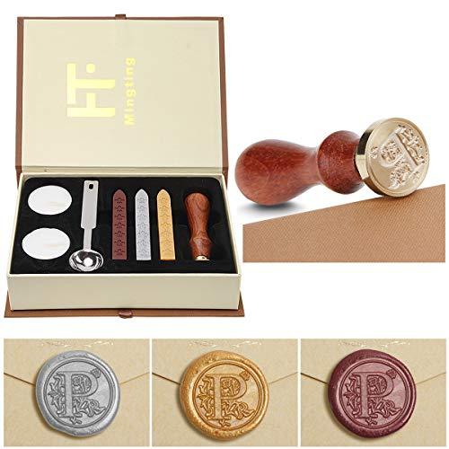 PUQU - Juego de sellos de cera con letras iniciales vintage de la A a la Z. Caja de regalo de sellos de cera., P