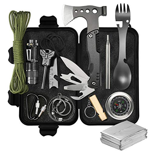 Survival Kit, WOWMVP Gifts for Men Dad Husband 14 in 1 Emergency Survival Gear and Equipment with Axe for Outdoor Camping Hunting Hiking Adventures