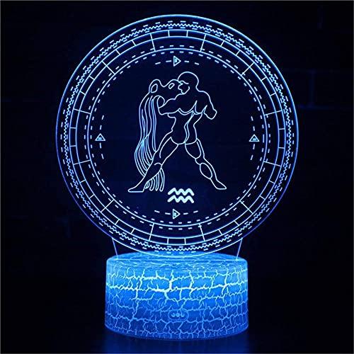 A-Generic LED 3D LED - Ilusión 3D - Leyendas Creativas - Regalos de cumpleaños para Hombre y Amigos - Control Remoto 16 Cambiando Colores-Acuario