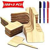Owevvin 100 Pcs Bamboo Plant Labels with Bonus 3 Pcs 3 Color Marker Pen, Wooden Plant Sign Tags T-Type Markers for Vegetable Flowers Garden Potted Plants(6 x 10 cm)