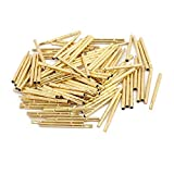 DealMux 100pcs R160-3S 1.67mm Dia 23mm Length Metal Test Probe Needle Cover Gold Plated