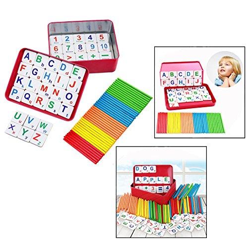 OFKPO Educativo Giocattolo Math Teach Aide per bambini, Blocchi di legno Numero di conteggio in legno Letters in Magnet Matematica Giochi educazione
