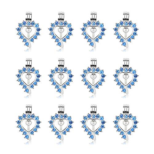12pcs Blue Diamond Siver Plated Locket Diffuser Pendant Heart Pearl Cage Beads with Lava Stone Charms for Necklace Bracelet Jewelry Making DIY