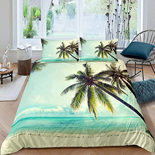 RONGXIE 3D Sports Duvet Cover Set Nature Sea Tropical Island Beach - Single (135 X 200 Cm) - Suitable For Teenager Boys And Girls, Soft Microfiber Quilt Cover Bedding Set With Zipper Closure