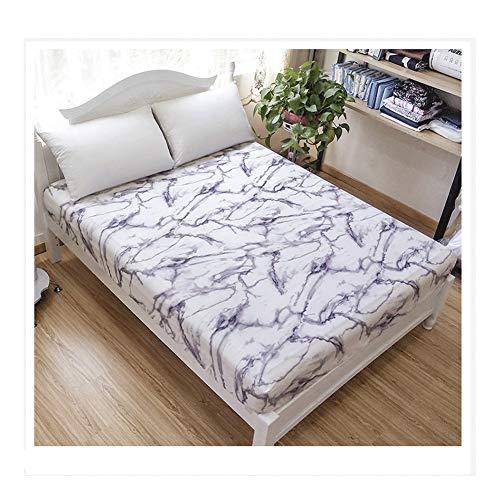 MZP Sábana Bajera Ajustable 25cm Altura Sábanas de algodón Estampadas con Motivos Florales Ropa de Cama Transpirable Sábana Ajustable (Color : White, Size : 150x200)