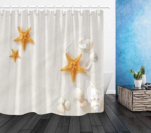 Tropical Beach Duschvorhänge Seestern & Muscheln auf weißem Sand Badvorhang mit Haken, wasserdichtes Polyestergewebe Badezimmer
