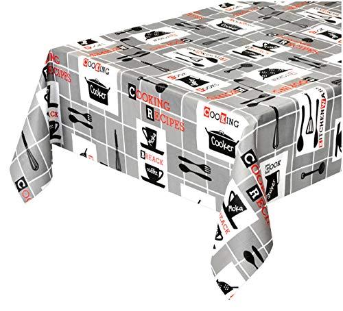 emmevi - Mantel antimanchas de tela encerada moderna plastificada, retro afelpado, 12 tamaños, cubre mesa, a medida, utensilios de cocina, mod. Favola 322