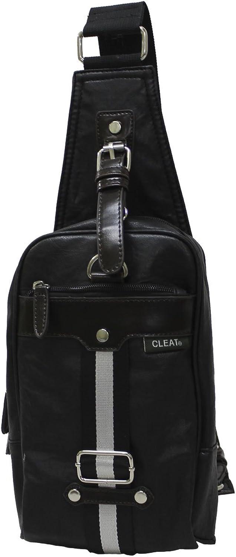 EXAS Stripe Tape Synthetic Leather Fanny Waist Pack Messenger Shoulder Bag