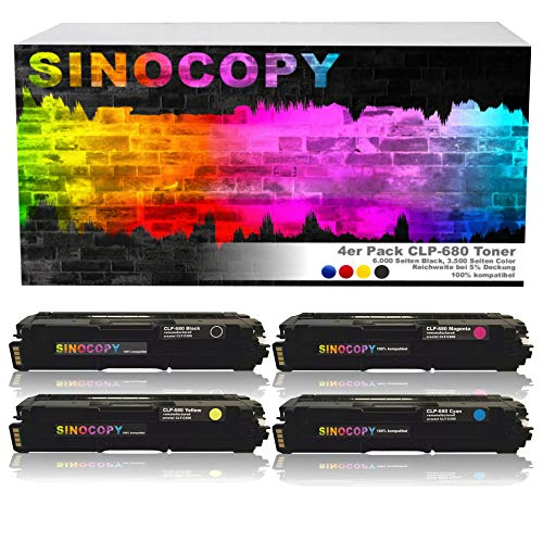 4X SinoCopy XXL Toner Set für Samsung CLP-680 1xBK,C,M,Y-BK 6.000 S,Color je 3.500 S, kompatibel zu Samsung CLP-680 DW ND Series CLX-6260 FD FR FW ND - CLT-K506L C506L M506L Y506L