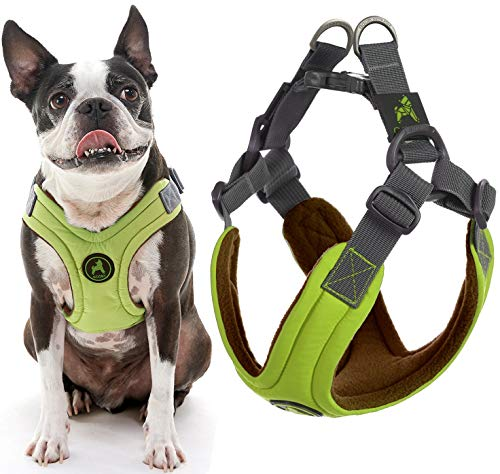 Gooby Dog Harness - Green, Large - Escape Free Memory Foam Step-in Small Dog Harness - Perfect on The Go Four-Point Adjustable - No Pull Harness for Small Dogs or Cat Harness