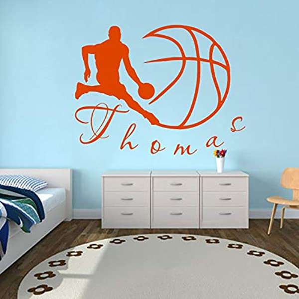Wall Decals Sports Basketball Player Ball Game Team Monogram Boy Personalized Name Baby Any Room Gym Vinyl Decal Sticker Home Decor ML197 17x22