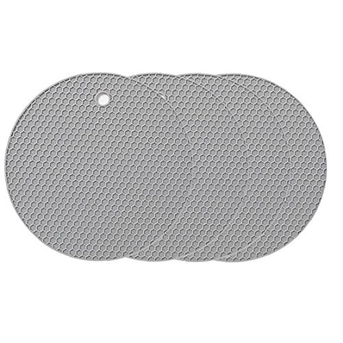 Fivesix Pad cojín del Aislamiento de la Estera de Tabla de Silicona Gris Honeycomb Antideslizante para la Cocina casera de Cocina 4PCS, Accesorios de Cocina