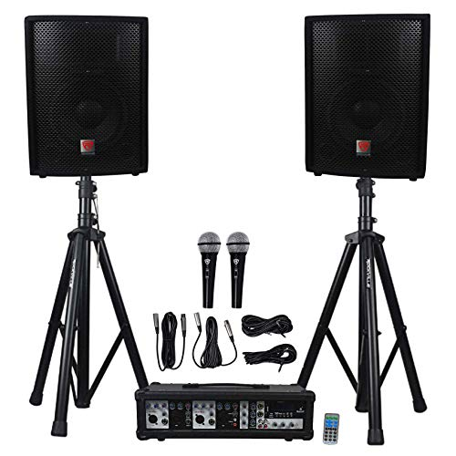 Rockville RPG2X10 Package PA System Mixer/ Amp+10 inch Speakers+Stands+Mics+ Bluetooth