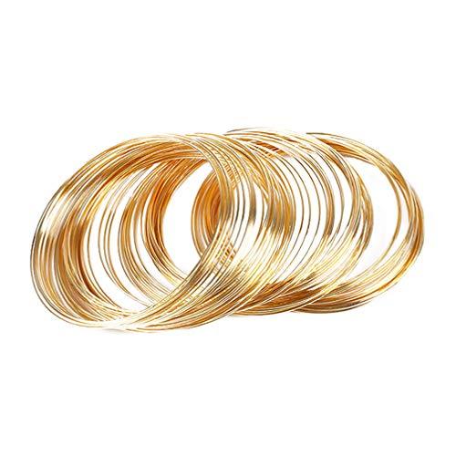 SUPVOX 60 Stücke / 3 Packs Schleife Schmuck Draht Perlen Armband Speicher Draht Manschette Armreif für Diy Schmuck Machen (60Mm)