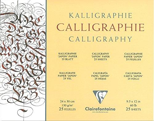 Clairefontaine 96439C - Papel de caligrafía satinado (24 x 30 cm, 130 g, 25 hojas), color marfil