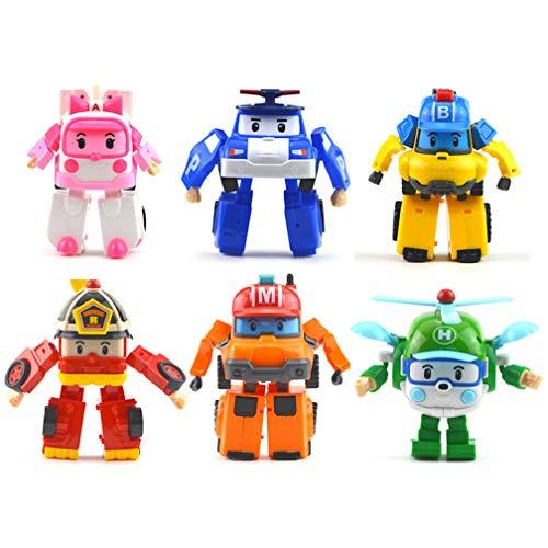 EASTVAPS 6pcs Mini Poli policía Coche deformación Robot niños Juguete