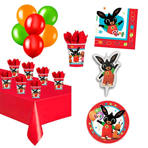 Kit Tavola Compleanno Bing con Candelina per Torta Palloncini Piatti Bicchieri Tovaglioli e Tovaglia | Festa a Tema Decorazioni Addobbi Allestimento Party