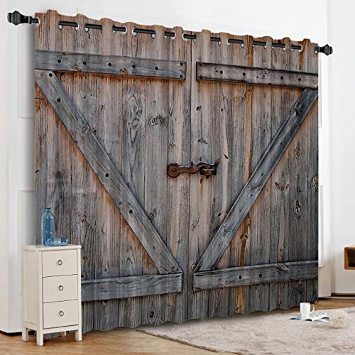 """KAROLA Blackout Curtains Window Treatments for Living Room/Bedroom Room Darkening Grommet Drapes and Curtains,Rustic Old Wooden Barn Door 52"""" W x 72"""" L"""