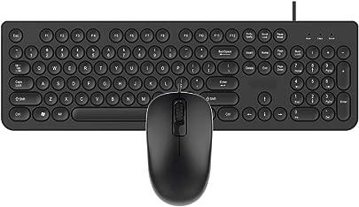 LHR888 Retro Steam Punk Business kabelgebundene Tastatur und Maus gesetzte Tablet-Tastatur-Laptop-Tastatur  Color Black