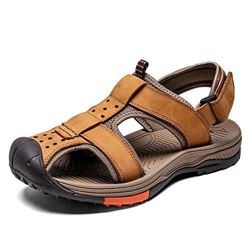 Xingyue Aile Slippers & Sandalen Outdoor Water Sport Sandalen Voor Mannen, Synthetische Lederen Haak & lus Band Dicht teen Casual Schoenen, Anti Slip Duurzame Eenvoudige En Handige Lichtgewicht Gezellige Schoenen
