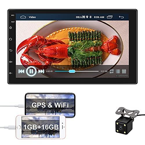 Radio de Coche Android 2 DIN GPS CAMECHO Pantalla táctil de 7 Pulgadas en el Tablero Estéreo para Automóvil Bluetooth FM WiFi Enlace Espejo para Teléfono Android iOS + Cámara Trasera
