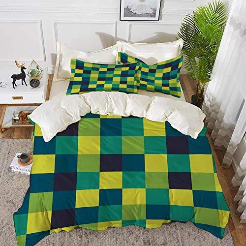 ropa de cama - Juego de funda nórdica, amarillo y azul, cuadrados de colores vivos Funky Simple Retro Style Grid Tile, Indigo Petrol, Juego de funda nórdica de microfibra hipoalergénica con 2 fundas d