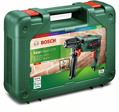 Bosch Perceuse à Percussion Filaire - Easyimpact 570 avec Poignée Supplémentaire (570w, Béton 10mm, Bois 25mm, avec Accessoires) Vert